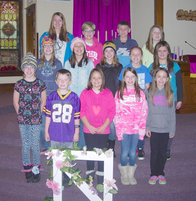 LSCTT cast Those youth involved in the Lime Springs Children's Theatre Troupe play are, front: Dalin Kitchen, Gabe Slavin, Cassidy Bowen, Kendall Slavin and Ana Gibbs. Middle: Lyli Kunert, Kelly Miller, Teryn Lukes, Skylar Henry and Abigail Hovey. Back: Lyanne Wells, Emma Greengo, Dalten Heit and Mattie Slavin. Not pictured: Anna Mae Leverson, Benjamin Matthias, Emily Bjugan-Hanson, Kristen Kuhl and Ella Keller.